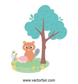 cute little beaver and hedgehog on grass with flowers and tree cartoon