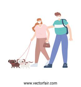 people with medical face mask, man and woman walking with dogs, city activity during coronavirus