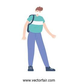 young man with medical mask and backpack isolated design icon