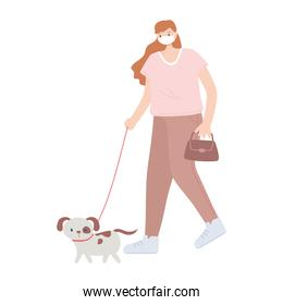 people with medical face mask, woman walking with dog pet, city activity during coronavirus