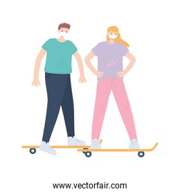 people with medical face mask, man and woman riding skate together, city activity during coronavirus