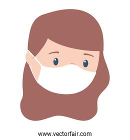 covid 19 coronavirus, girl with medical mask protection, isolated design icon
