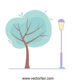 tree postlamp street urban isolated design icon