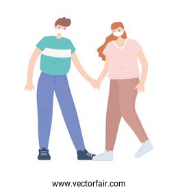 people with medical face mask, couple holding hands