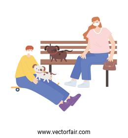 people with medical face mask, woman sitting on bench and boy with skate and dogs, city activity during coronavirus