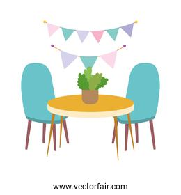table chairs with plant and decoration design icon