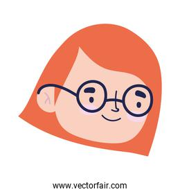 smiling girl face cartoon character isolated design icon