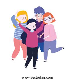 meeting friends, people group celebrating party event cartoon