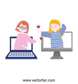 online party, meeting friends, women with wine cups celebrating on computer connection