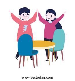 group of people together to celebrate a special event, funny couple with hands up celebrating