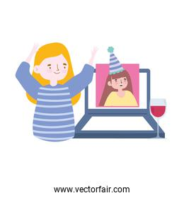 online party, women talking with video call on laptop happy birthday celebration