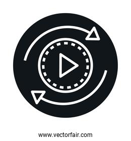 360 degree panoramic video button block and line style icon design