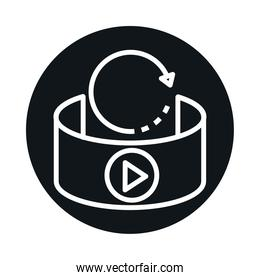 360 degree view, virtual reality, rotation arrows block and line style icon design