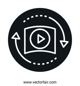360 degree virtual video player reality block and line style icon design