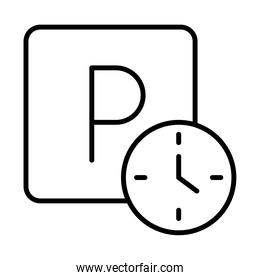 parking clock hours warning transport line style icon design