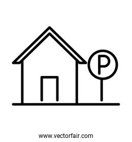 parking traffic sign house transport line style icon design