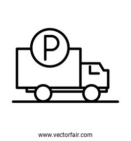 truck vehicle parking transport line style icon design