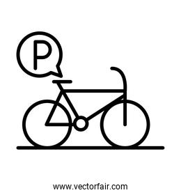 parking bicycle traffic sign transport line style icon design