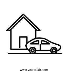 parking car outside house line style icon design