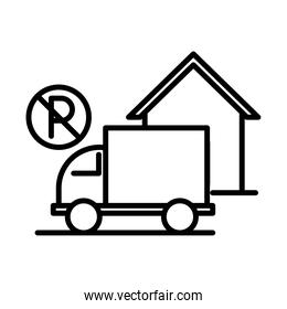 prohibited parking truck front house line style icon design