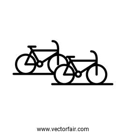 parking bicycles transport line style icon design