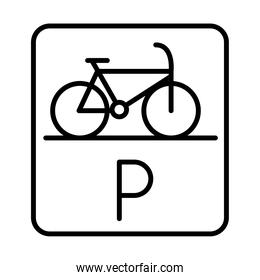 parking bicycle road sign transport line style icon design
