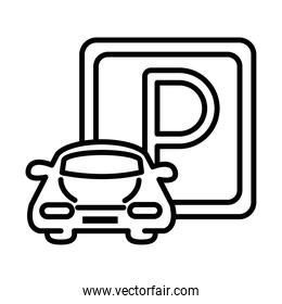 parking car vehicle road sign transport line style icon design