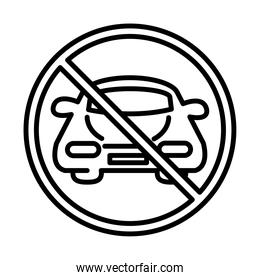 prohibited parking car transport line style icon design