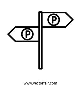 parking traffic arrows sign guidance transport line style icon design