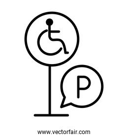 parking disabled traffic board warning line style icon design