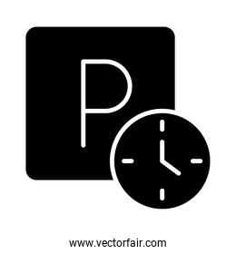 parking clock hours warning transport silhouette style icon design