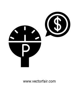 parking meter device money transport silhouette style icon design
