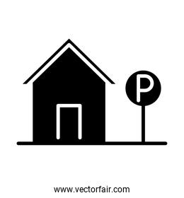 parking traffic sign house transport silhouette style icon design