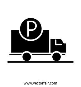 truck vehicle parking transport silhouette style icon design