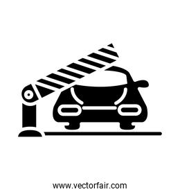 parking car barrier gate transport silhouette style icon design