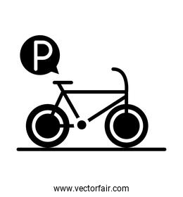 parking bicycle traffic sign transport silhouette style icon design