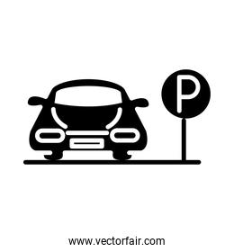 parking car traffic board transport silhouette style icon design
