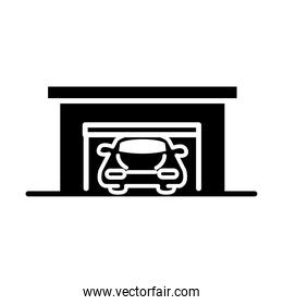 car in garage parking transport silhouette style icon design