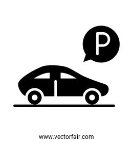 parked car, parking transport silhouette style icon design