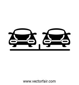 front view of a parking with cars transport silhouette style icon design
