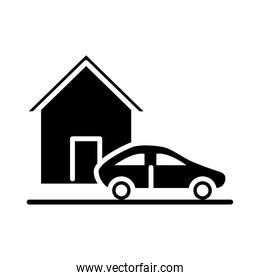 parking car outside house silhouette style icon design