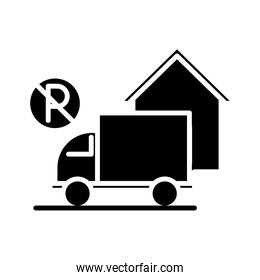 prohibited parking truck front house silhouette style icon design