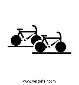 parking bicycles transport silhouette style icon design