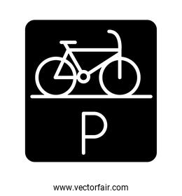 parking bicycle road sign transport silhouette style icon design