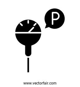 parking meter transport silhouette style icon design