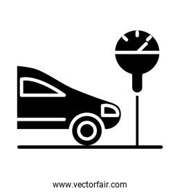 parking car front meter transport silhouette style icon design