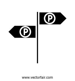 parking traffic arrows sign guidance transport silhouette style icon design