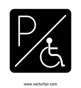disabled parking sign board silhouette style icon design