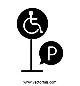 parking disabled traffic board warning silhouette style icon design