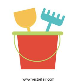 bucket with shovel and fork toy object for small children to play, flat style cartoon